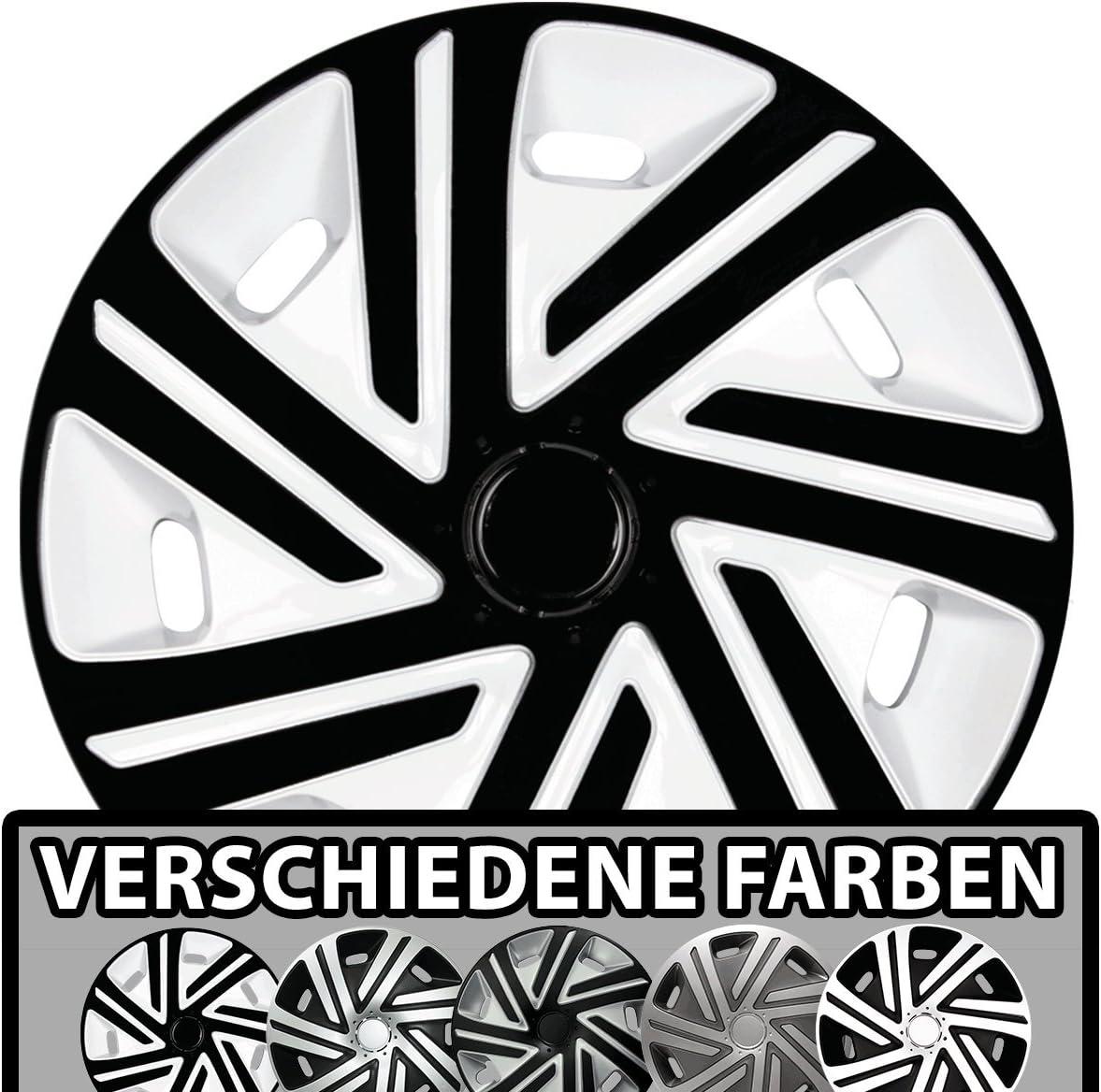 Eight Tec Handelsagentur Größe Und Farbe Wählbar Radzierblenden 14 Zoll Cyrkon Weiß Schwarz Passend Für Fast Alle Fahrzeugtypen Universell Auto
