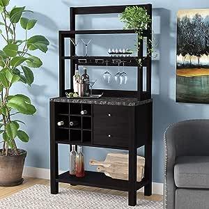 Amazon.com: Home Bar Cabinet with Wine Storage - Modern ...