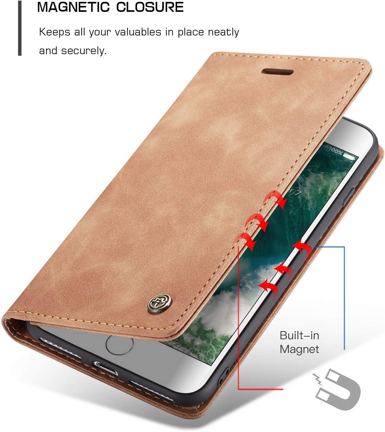 Vintage D/ünne Handyh/ülle mit Kartenfach Geld Slot St/änder PU Ledertasche TPU Bumper Flip Schutzh/ülle Kompatibel mit iPhone 7 8 QLTYPRI H/ülle f/ür iPhone 7 8 Schwarz