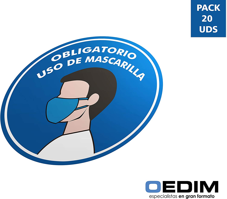 Oedim Pack 20 Señales de Pegatina Obligatorio Mascarillas | Fabricadas en Polipropileno | 5x5 cm| Adhesivo Resistente y Económico | Pegatina Adhesiva Decorativa