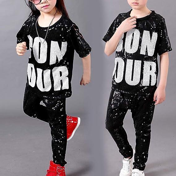 defb38c85b9ea Daytwork Disfraz Danza Lentejuelas Diseño Moderno Ropa - Disfraz Moderno  Niños Jazz Hip Hop Lentejuelas Trajes Moda Conjuntos Pantalones Cortos  Abrigo  ...