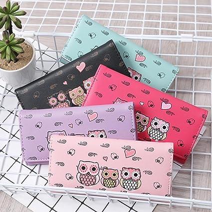 Malloom® nuevo moda El bloqueo de color dama mujeres chica largo monedero embrague billetera Bolsa postal Titular de la tarjeta (rosa fuerte(hot pink)): ...