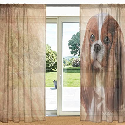 My Daily Cavalier King Charles Spaniel Dog Printed Sheer Window And Door  Curtain 2 Panels 55u0026quot