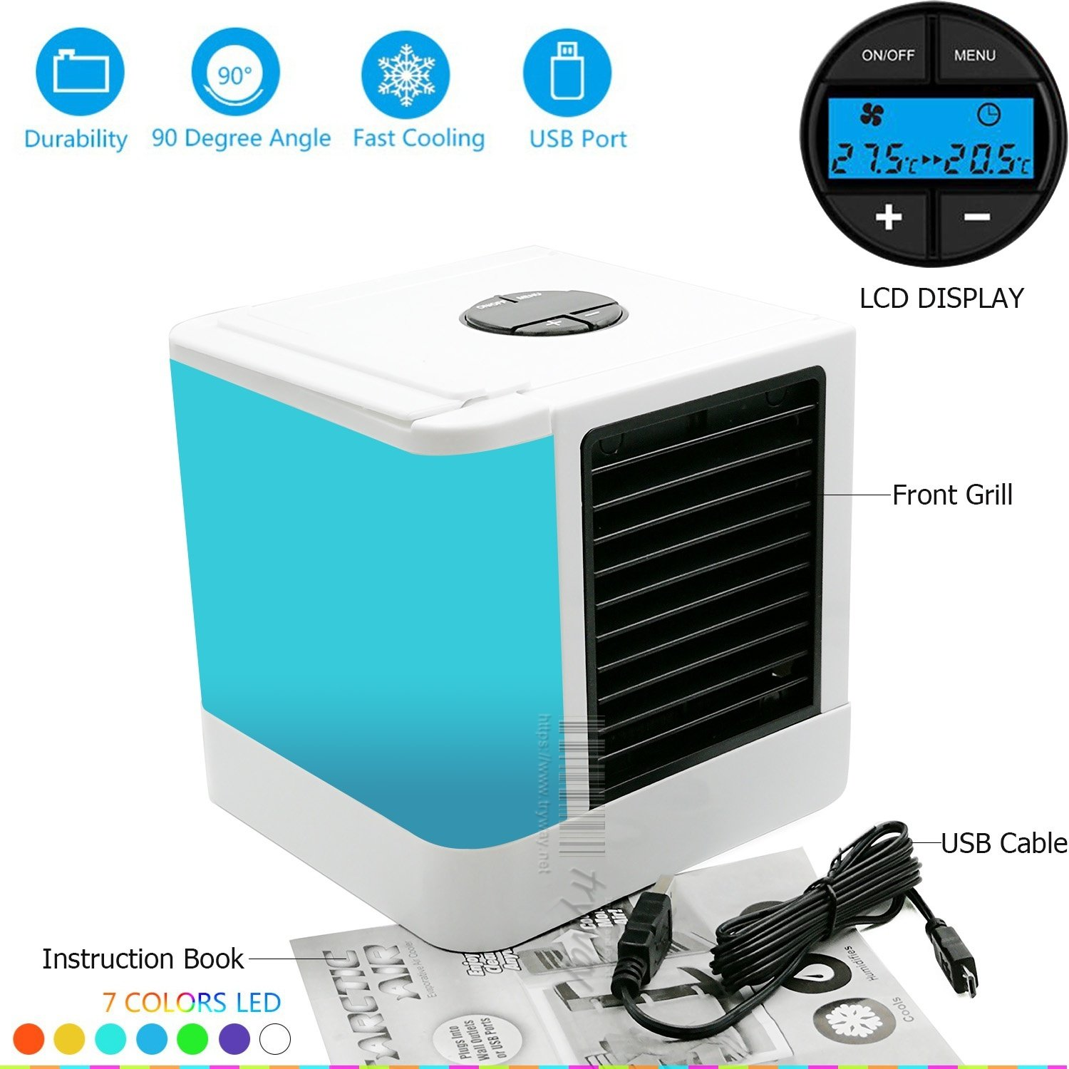 Trymway Personal Space Air Cooler 5-in-1 Study Sleep Arctic air Mini Cooler Quick&Easy Way to Cool Any Space Mini fan Air Cooler Humidifier&Purifier 7 Color Adjustable LED Lights 5 speeds Home Office Desk Device Portable Air Conditioner LCD Displa