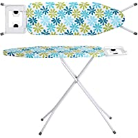 Coroid Steel Folding Ironing Board with Adjustable Height, Easy Storage, Heat Resistant Silicone Tray, Padded Top with Cover and Aluminised Surface Iron Table for Ironing (BlueAndWhite)