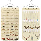 Hanging Jewelry Organizer, Double Sided 40 Pockets and 20 Magic Tape Hook Jewelry Organizer, Necklace Holder Jewelry…