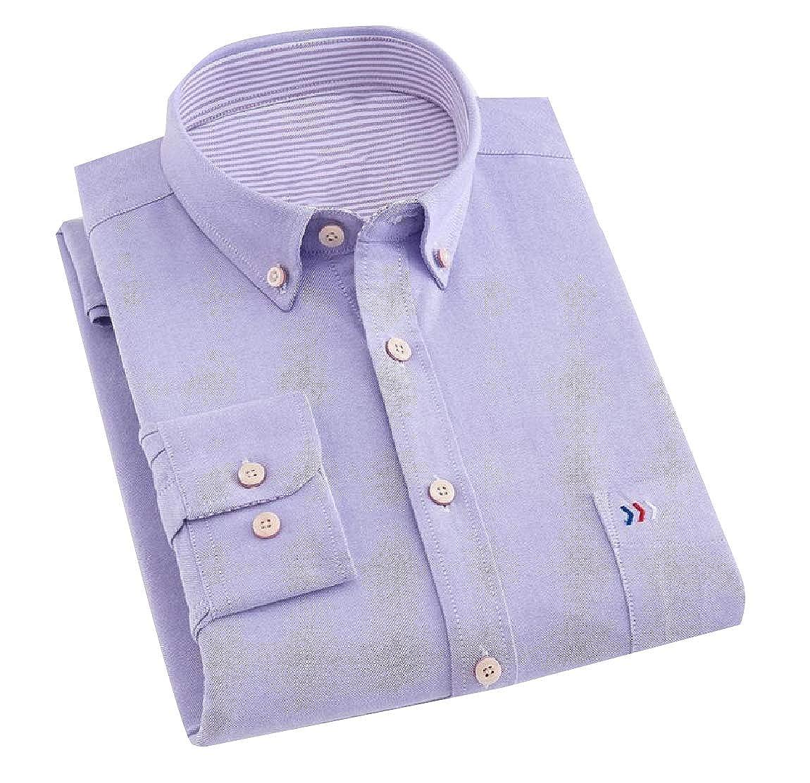 YUNY Mens Long-Sleeve Plaid Cozy Formal Classic Oxford Poplin Shirt 13 L