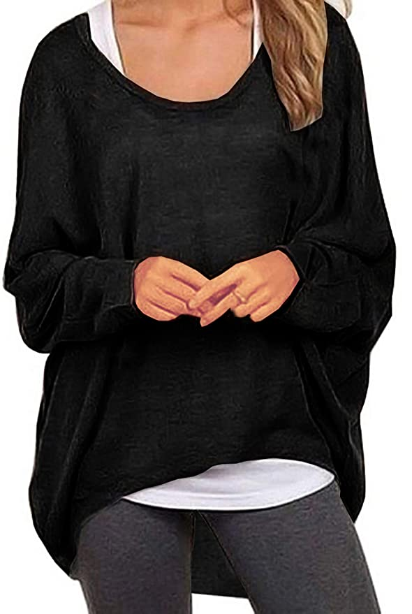 UGET Women's Sweater Casual Oversized Baggy Off-Shoulder Shirts Batwing Sleeve Pullover Shirts Tops Asia L Black