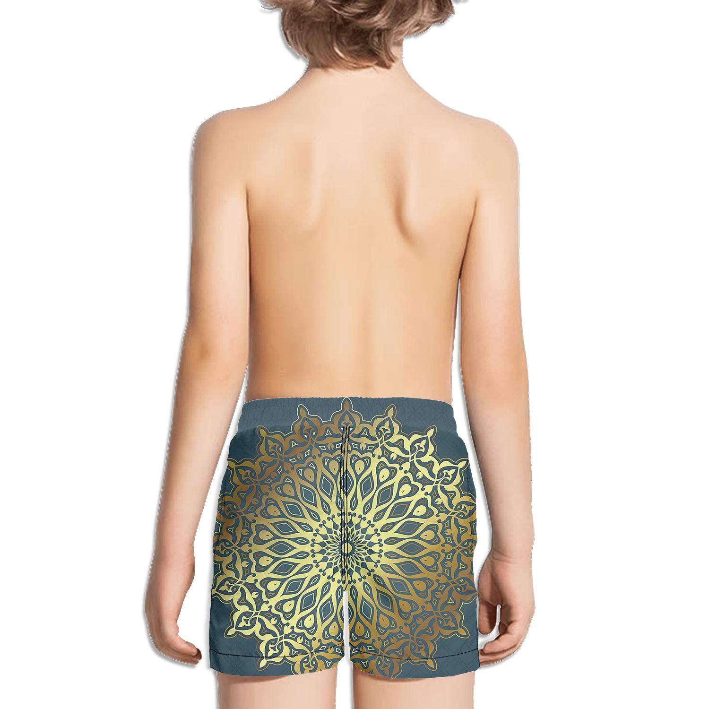 FullBo Decor Popular Color Art Mandala Little Boys Short Swim Trunks Quick Dry Beach Shorts