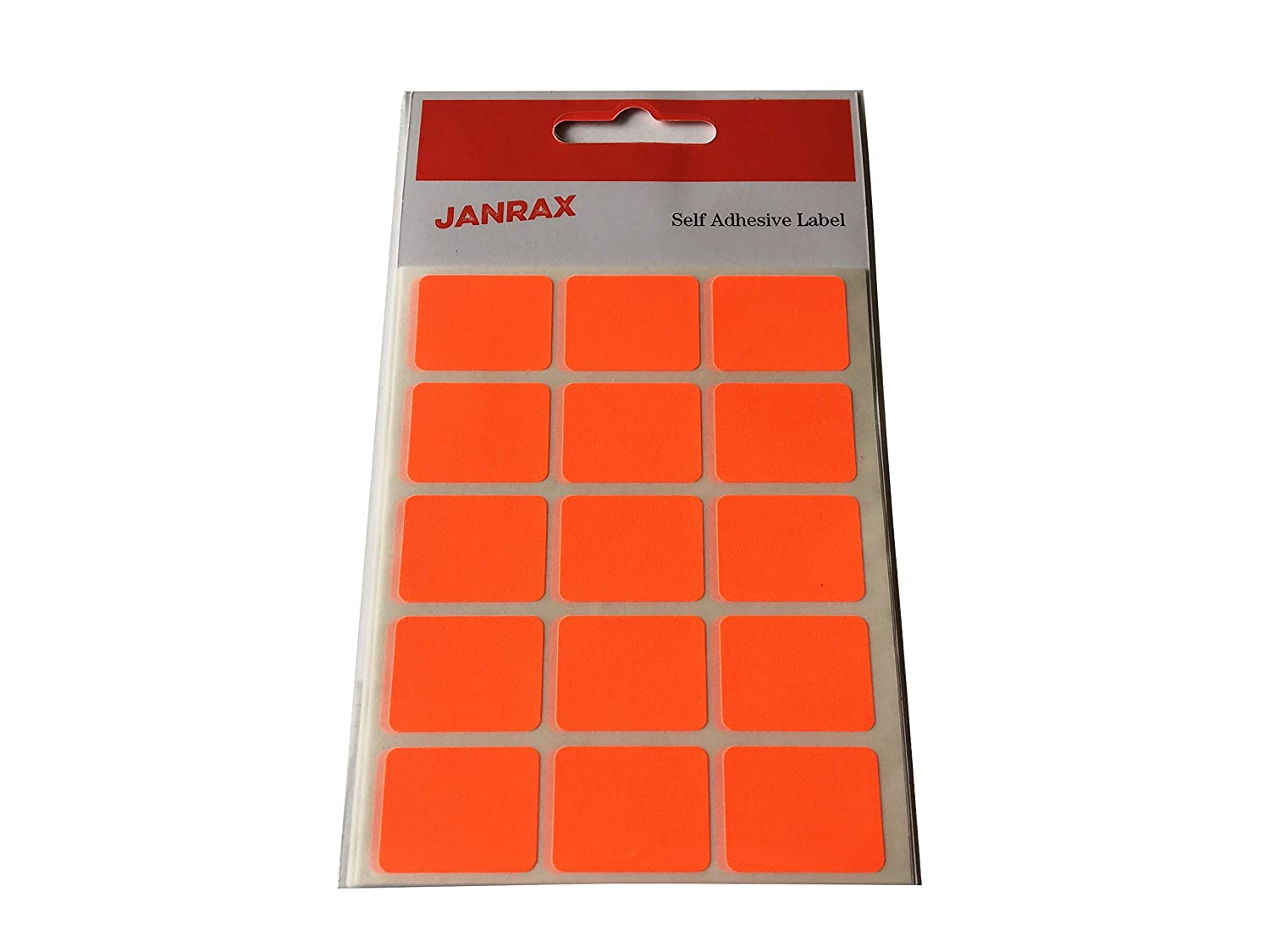 Pack of 60 Fluorescent Red 19x25mm Labels Coloured Rectangular Stickers