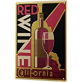 LEotiE SINCE 2004 Tin Sign Metal Plate Decorative Sign Home Decor Plaques Retro Wall Sign red Wine California Metal Plate 8X12