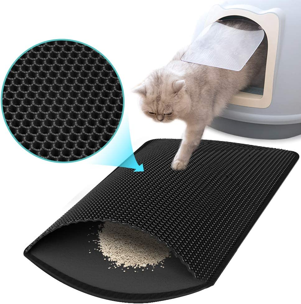 """CLEEBOURG Cat Litter Mat, Kitty Litter Box Trapping Mat 30"""" X 24"""", Honeycomb Washable Design Urine Waterproof, Scatter Control Carpet with Handle"""