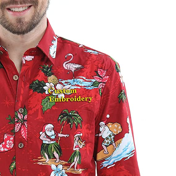 74ed3e46b Hawaii Hangover Men's Hawaiian Long Sleeve Fit Shirt Aloha Shirt Christmas Shirt  Santa Red - Red