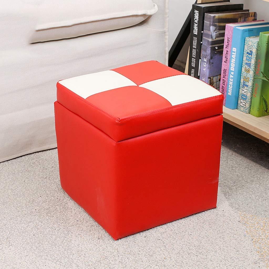 Petit Tabouret carr/é Coffre de Rangement en Cuir PU Pouf Gain de Place Cube Box Pouf Pouf Repose-Pieds Portable Canap/é Banc Color : A