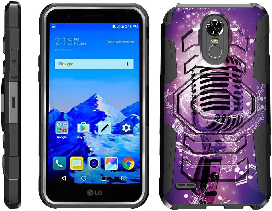 TurtleArmor | Compatible with LG Stylo 3 Case | LG Stylus 3 Case | Stylo 3 Plus [Octo Guard] Armor Hybrid Cover Sturdy Kickstand Impact Silicone Holster Belt Clip Music - Purple Microphone