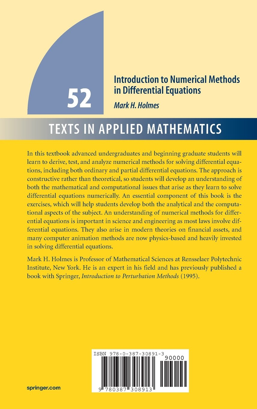 Buy Introduction to Numerical Methods in Differential Equations (Texts in Applied  Mathematics) Book Online at Low Prices in India | Introduction to ...