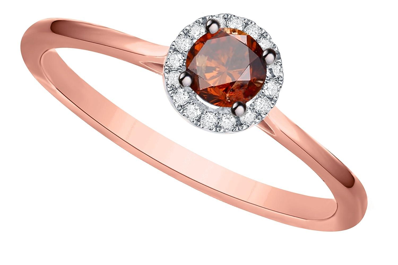 Prism Jewel 0.38Ct Cognac Diamond Surrounded White Diamond Engagement Ring