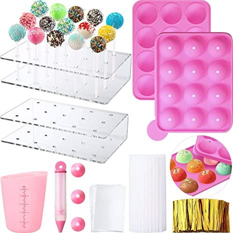 Lollipop Cake Maker Set Silicone Lollipop Mold with Lollipop Sticks Measuring Cup Decorating Pen with 4 Piping Tips Treat Bags Golden Twist Ties for Lollipop Chocolate 8-Hole// 7.87 x 4.72 x 1.57 Inch