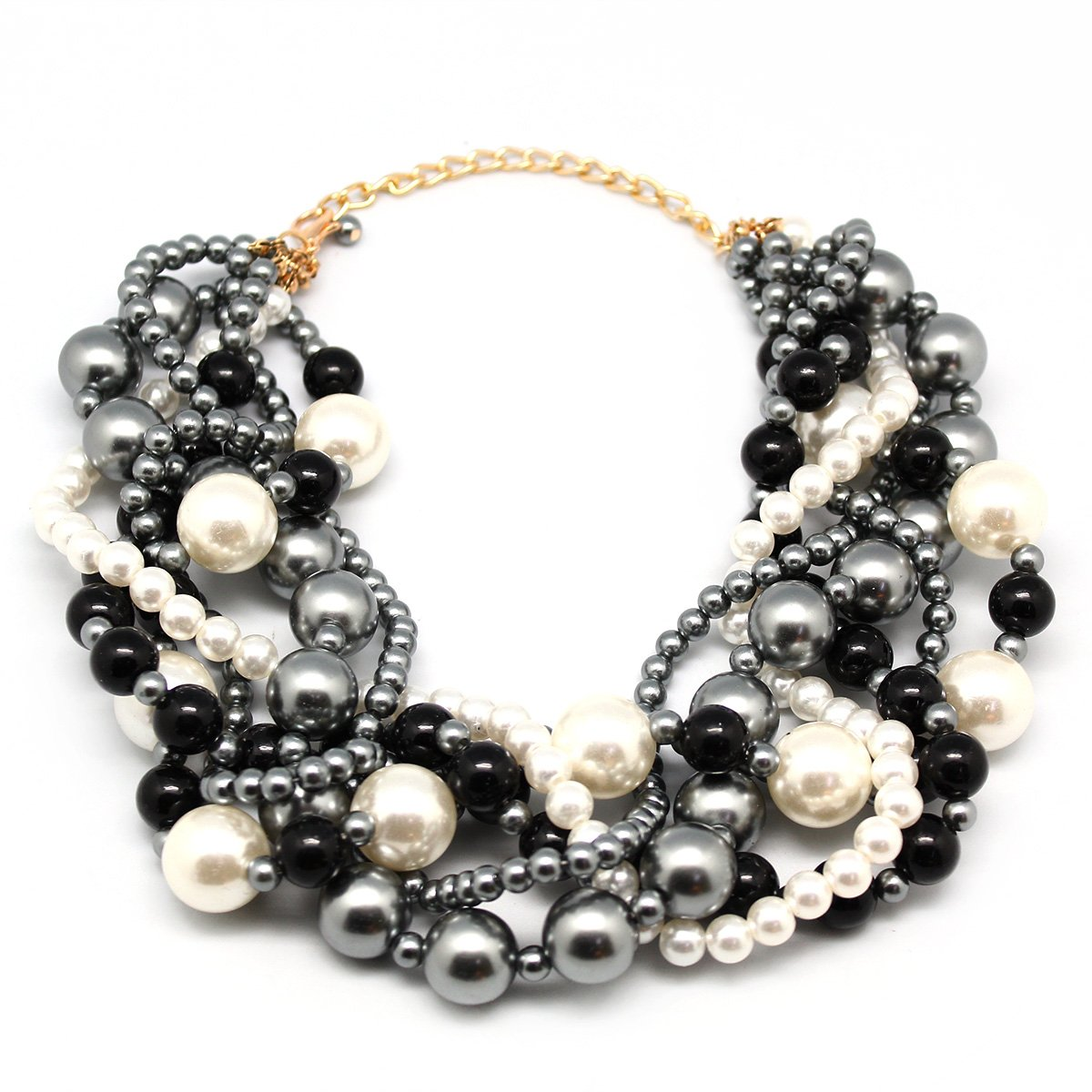 MeliMe Women's Imitation Pearl Twisty Chunky Bib Necklace Pearl Chokers for Wedding Party by MeliMe (Image #1)
