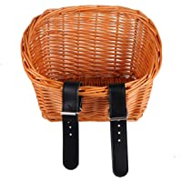 CLISPEED Kids Wicker Bike Basket Rattan Willow Hand Woven Front Handlebar Bicycle Basket Detachable for Boys and Girls