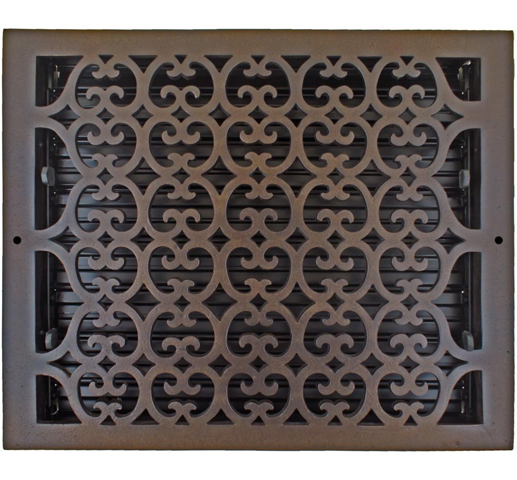 Hamilton Sinkler WVT-1214-BP Hamilton Sinkler Scroll Wall Vent with Damper, 12 by 14-Inch, Bronze Patina