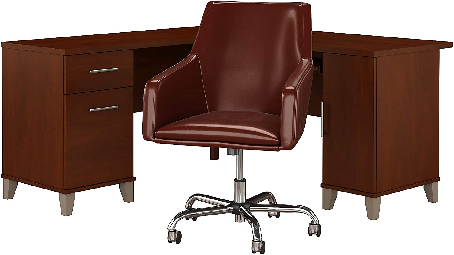 Bush Furniture Somerset L Shaped Desk with Mid Back Leather Box Chair, 60W, Hansen Cherry