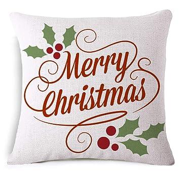 Fundas de Cojín para Navideño Impresión de Patrones de Navidad Funda de Almohada de Lino para Decoración Sofá Coche Cama-45x45cm,Decorado de ...