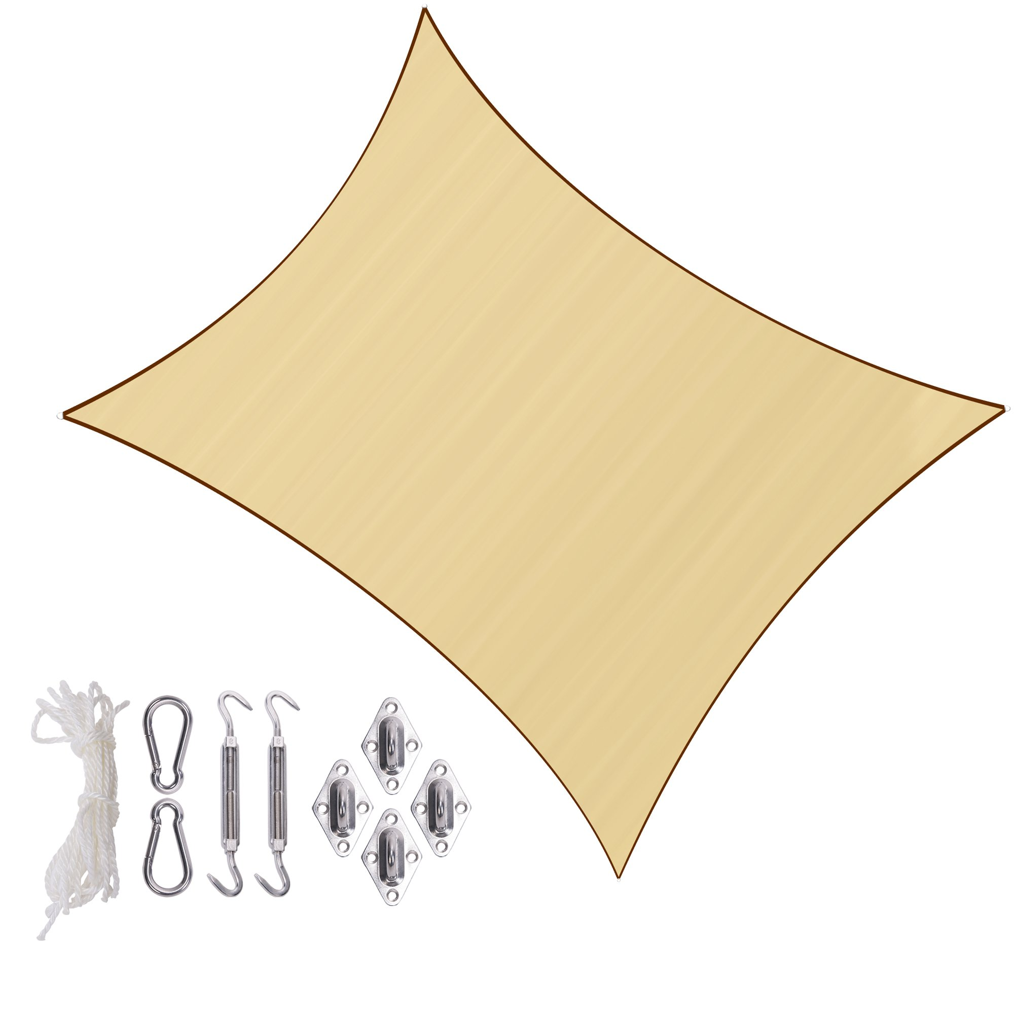 Sunlax 13' x 20' Sand Color Rectangle UV Block Sun Shade Sail Canopy with Stainless Steel Hardware Kit for Patio and Outdoor