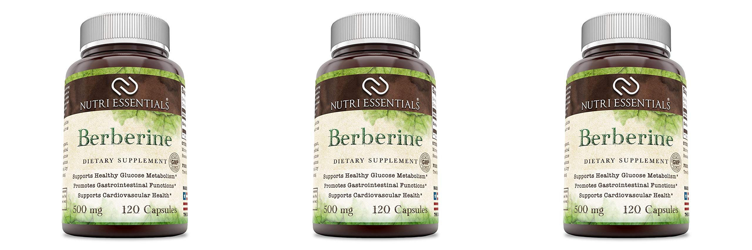 Nutri Essentials Berberine 500mg, 120 Capsules - Metabolism Booster and Immune System Support - Promotes Weight Loss and Healthy Blood Sugar Levels (3 Pack) by Nutri Essentials
