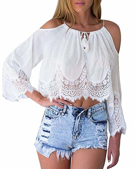 9154c478ad Amazon.com  StyleDome Womens Long Sleeve Lace Crochet Crop Tops Off ...