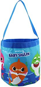 Baby Shark Boys Girls Collapsible Nylon Gift Basket Bucket Toy Storage Tote Bag (Blue, One Size)
