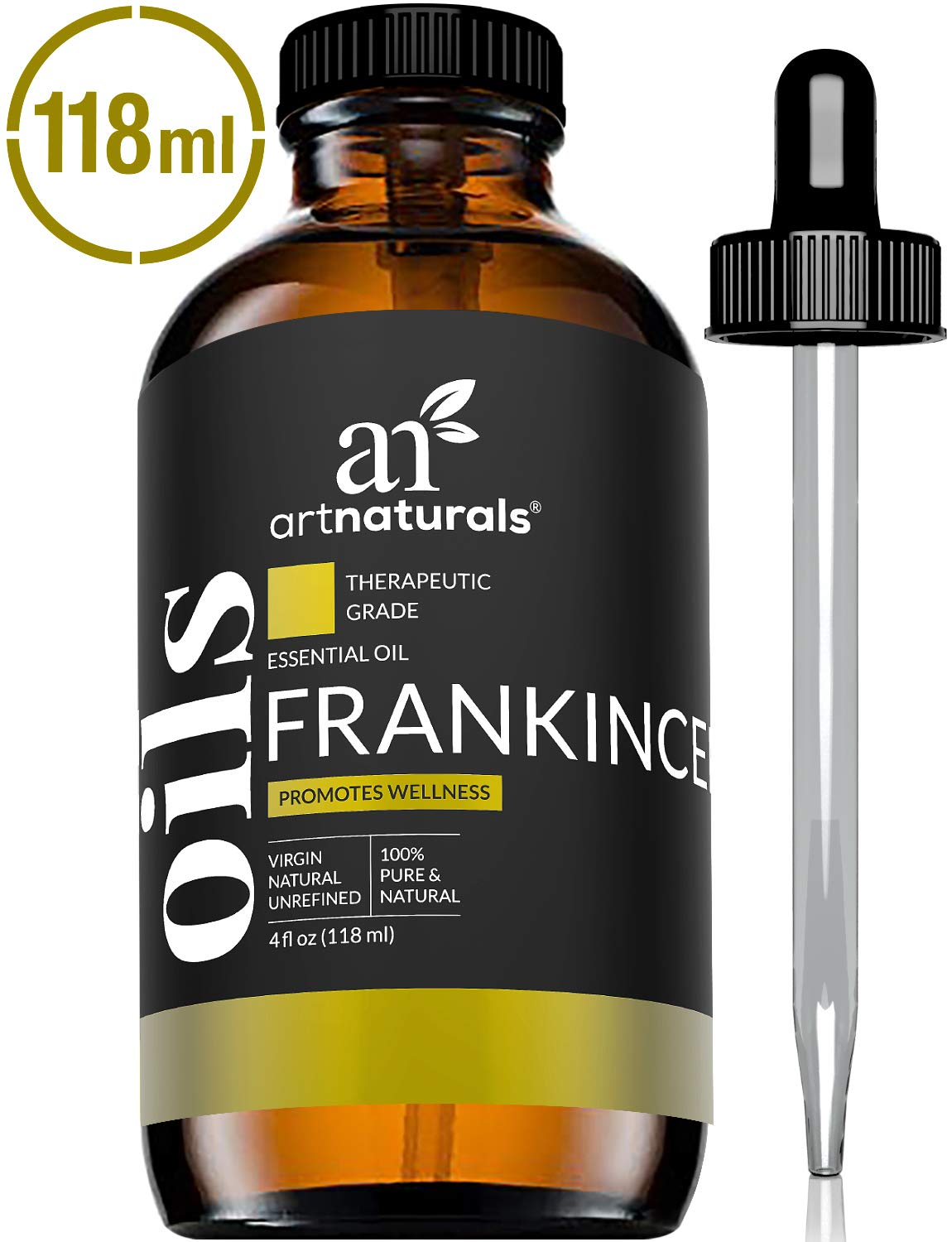 ArtNaturals 100% Pure Frankincense Essential Oil - (4 Fl Oz / 120ml) - Natural Undiluted Therapeutic Grade - Premium Aromatherapy Quality Oil for Diffuser Internal Use, Skin, and Face - Frankensence by ArtNaturals