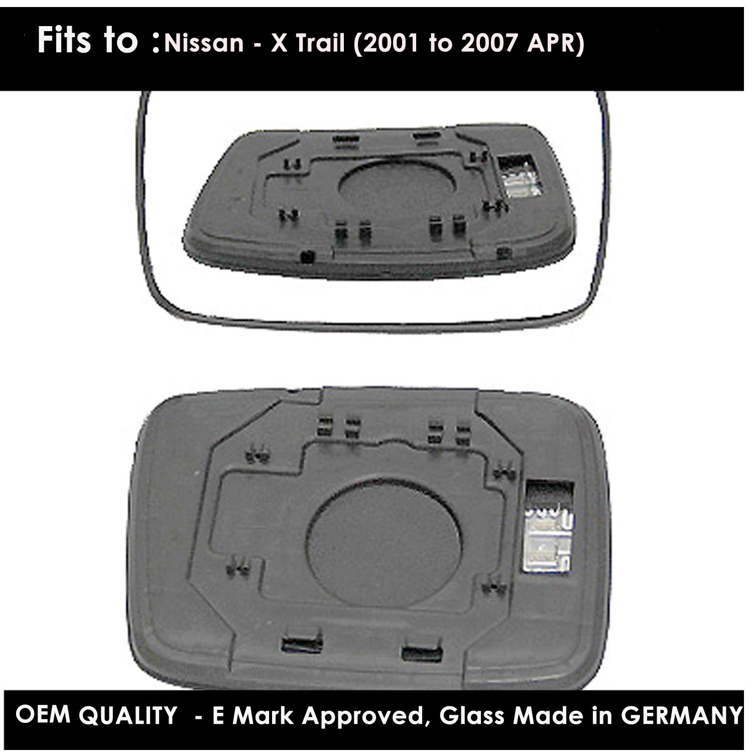 Passenger Side Door Mirror Glass Including Base Plate LH Silver Wing Heated