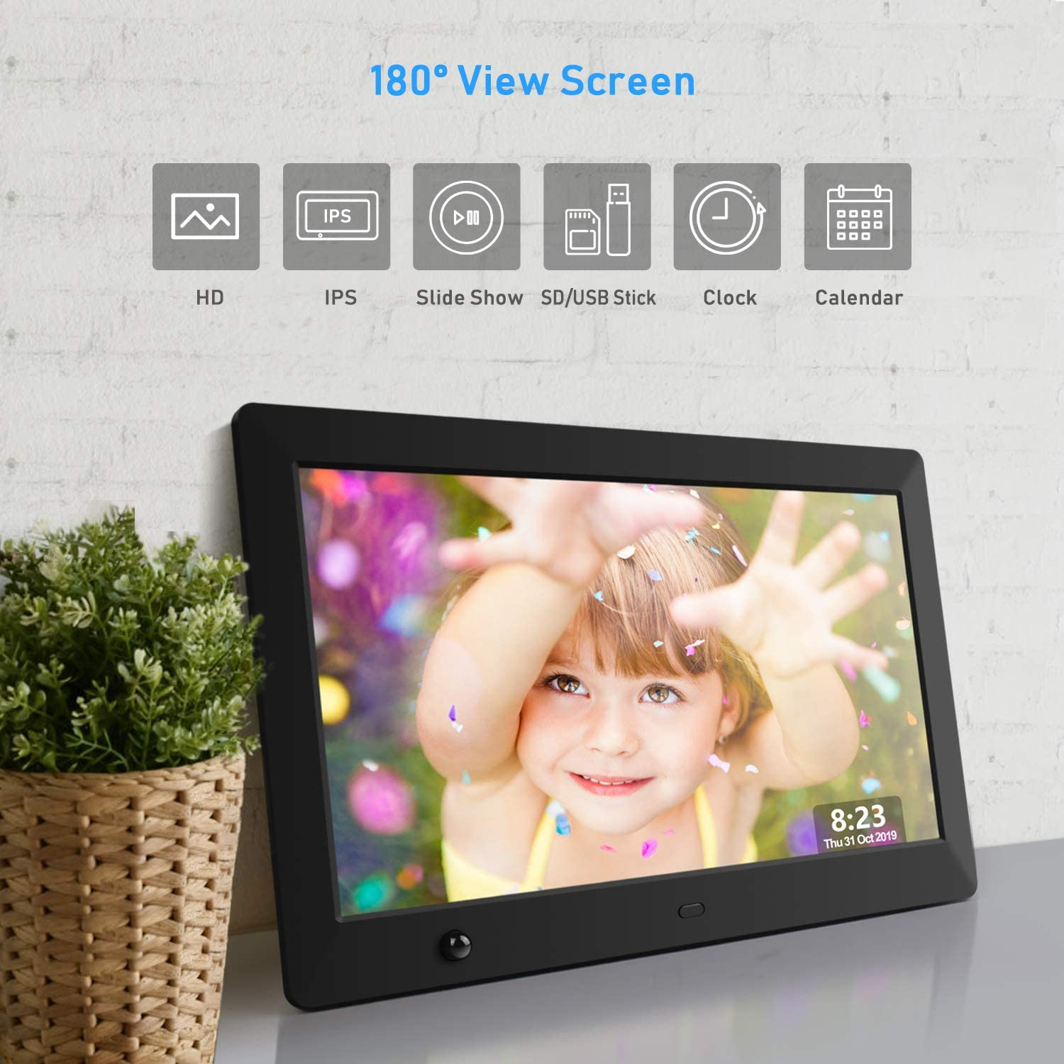 Support USB and SD Card IPS Electronic Picture Frame with Motion Sensor Dhwazz 10.5 Inch Digital Photo Frame Video and Music High Resolution 180 Degree Display Photo