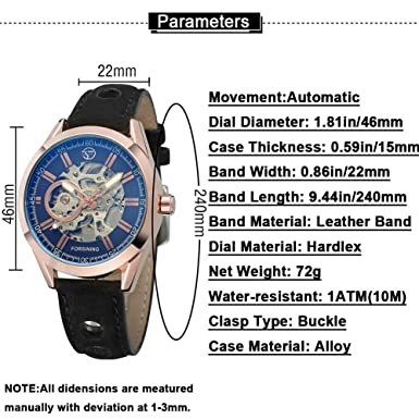 Mens Automatic Watch,STONE Self-Wind Mechanical Skeleton Wrist Watch with Leather Band
