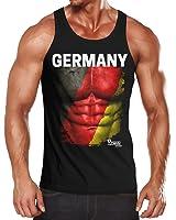 cooles EM Tanktop Herren Fußball Deutschland Fanshirt Europameisterschaft Flagge Waschbrettbauch MoonWorks®