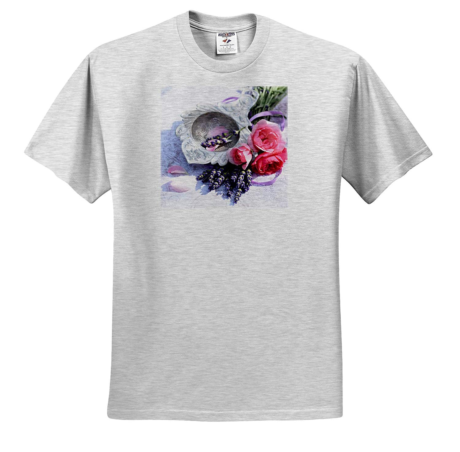 3dRose Uta Naumann Photography Stilllife Summer Stillife with Pink Roses and Lavender in A Silver Bowl T-Shirts