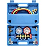 3 Way AC Diagnostic Manifold Gauge Set for Freon Charging, Fits R134A R12 R22 and R502 Refrigerants, with 5FT Hose, ACME…