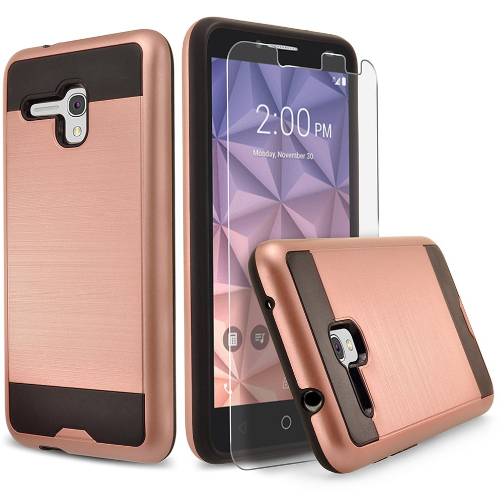 buy popular 02795 4e864 Alcatel One Touch Fierce XL Case, Dual Layers Phone Cover Bundled with  [Tempered Glass Screen Protector] Hybird Shockproof And Circlemalls Stylus  ...