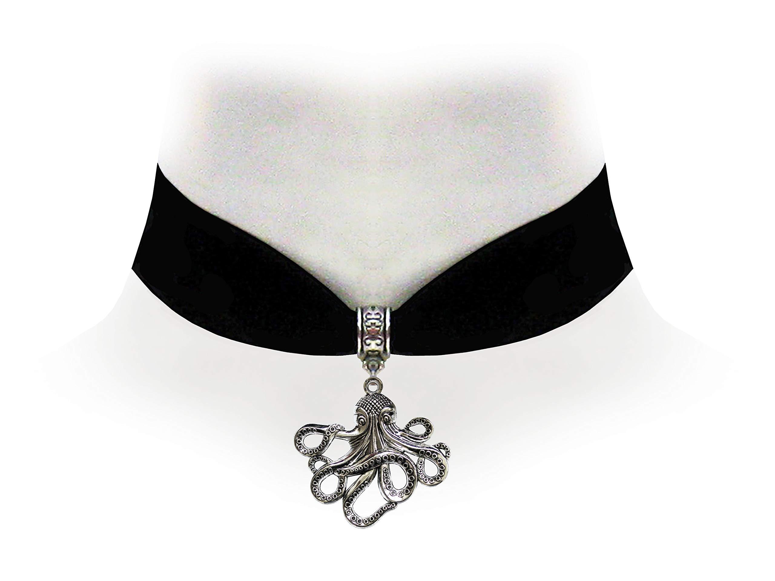 Victorian Vault Octopus Black Velvet Choker Steampunk Jewelry Gothic Necklace 3