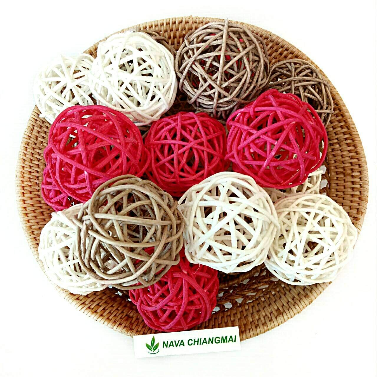 Red White Brown Rattan Wicker Twig Orbs Set of 20 - ChristmasTablescapeDecor.com