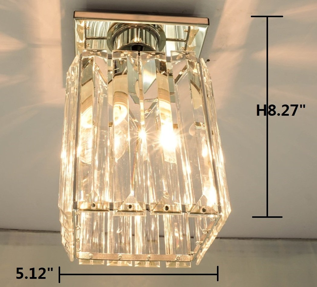 Agnes Lighting Crystal Ceiling Lamp, Chandelier, 1 Light, W5.12''L5.12 H8.27'' by Agnes Lighting (Image #6)