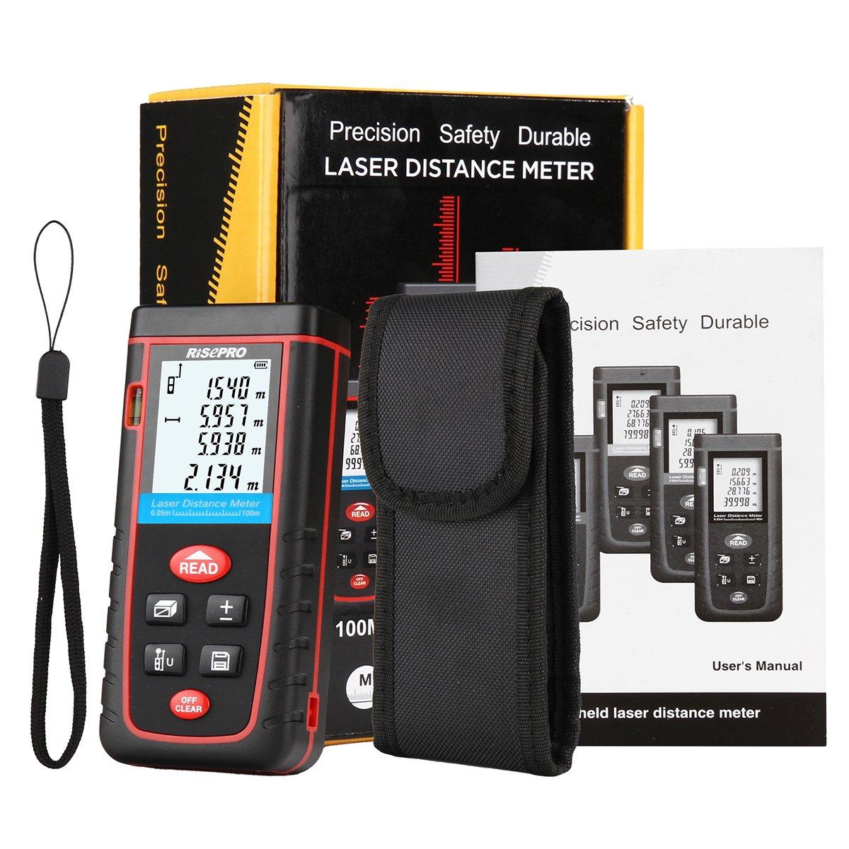 Laser Distance Meter, RISEPRO Digital Laser Rangefinder 100 Meters 328 feet Mini Handheld Area Volume Measure Diastimeter by RISEPRO (Image #7)