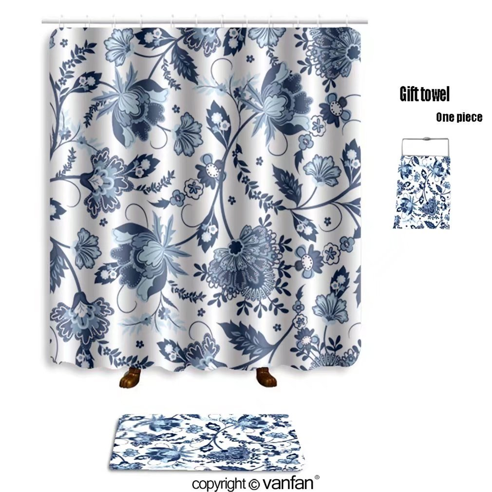 vanfan bath sets with Polyester rugs and shower curtain jacobean print pattern seamless 281994020 shower curtains sets bathroom 72 x 72 inches&31.5 x 19.7 inches(Free 1 towel and 12 hooks)