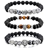 Amazon Price History for:MOWOM Silver Gold Black 8mm Wide Alloy Bangle Link Wrist Agate Energy Stone Buddha Mala Bead Elastic