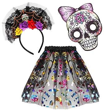 VAMEI Disfraz de Calavera con Disfraz de Halloween con Falda de ...