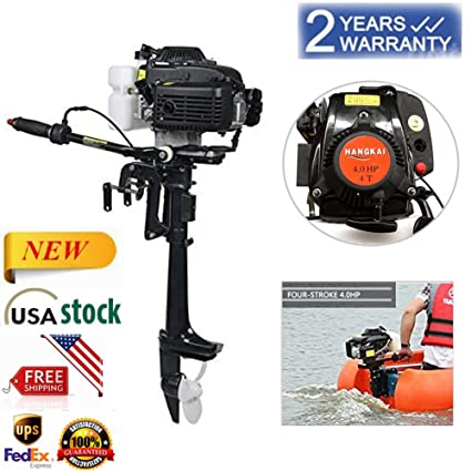 Feiuruhf Outboard Motors,4HP 4-Stroke Outboard Motor Marine Engine Air  Cooling Tiller Control Fishing Boat Yacht Engine CDI Air Cooling Inflatable