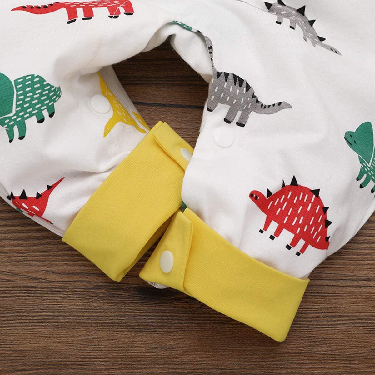 Chennie Motivo: Dinosauro a Maniche Lunghe Tutina per Neonato in Cotone