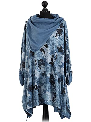 Italian Floral Print Tunic Top With Scarf (Denim)