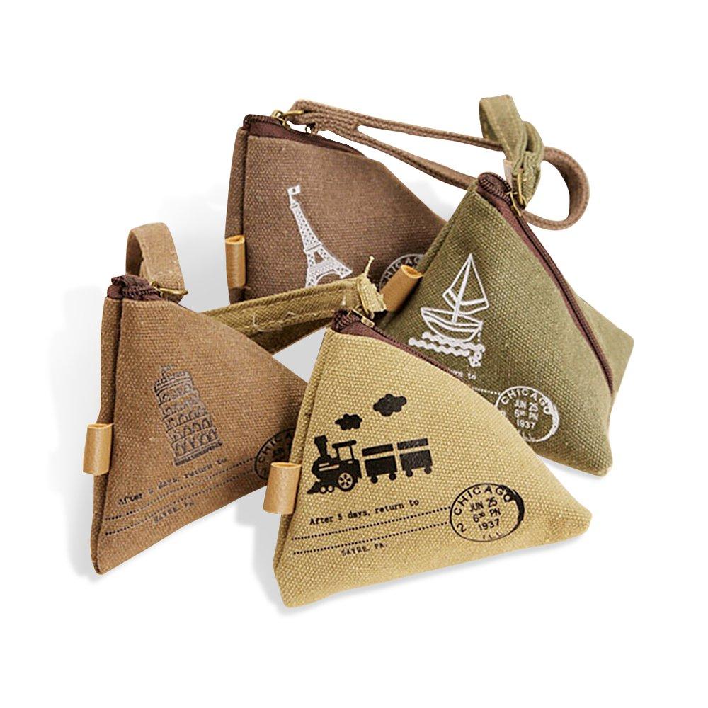 Jia Hu 4 PCS Retro Coin Purse Travel Bag Gadget Organizer for Woman Man Sail